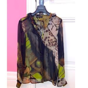 Monica Magni Sheer Silk Printed Blouse Sz 48
